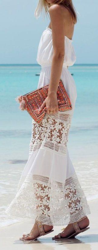 White Crochet Detail Summer Strapless Maxi Dress