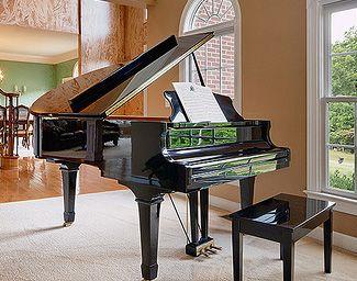 Black Grand Piano Reflecting Perfect Finish