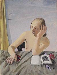 La giovanetta con libro e anemoni by Felice Casorati