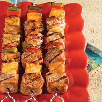 Brochettes de porc aigres-douces - Soupers de semaine - Recettes 5-15 - Recettes express 5/15 - Pratico Pratique
