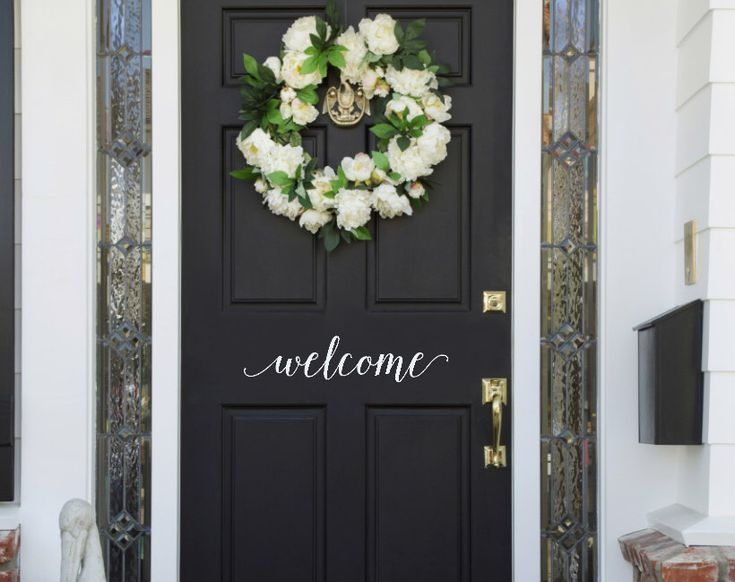 Welcome Door Vinyl Decal, Welcome Front Door Sticker, Welcome Door Decal, Welcome sticker, Vinyl Decal Door by TweetHeartWallArt on Etsy https://www.etsy.com/listing/260542724/welcome-door-vinyl-decal-welcome-front