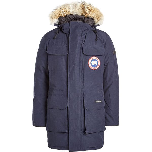 Canada Goose Citadel Down Parka ($1,165) ❤ liked on Polyvore featuring men's fashion, men's clothing, men's outerwear, men's coats, blue, mens parka coats, canada goose mens coat and mens blue trench coat