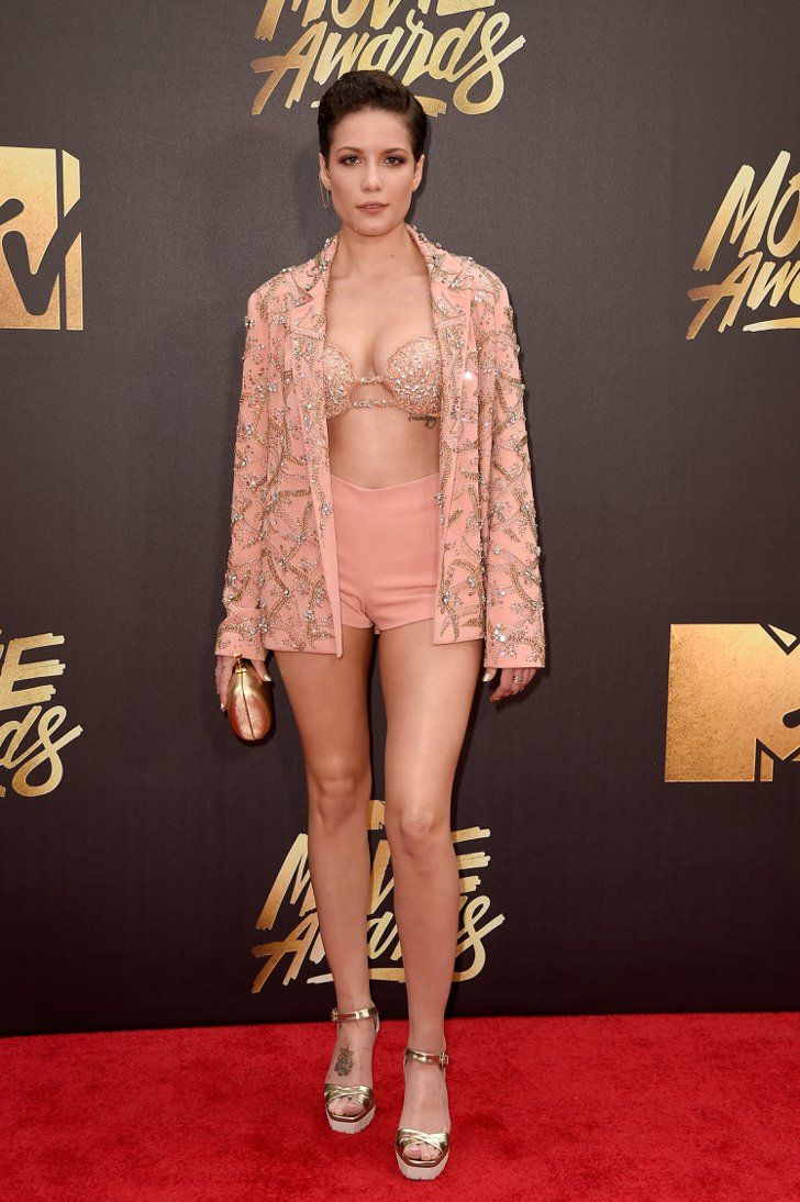 Pin for Later: All the Dresses You Can't Miss From the MTV Movie Awards Red Carpet Halsey Singer Halsey paired Idan Cohen shorts with a blazer and embellished bra.