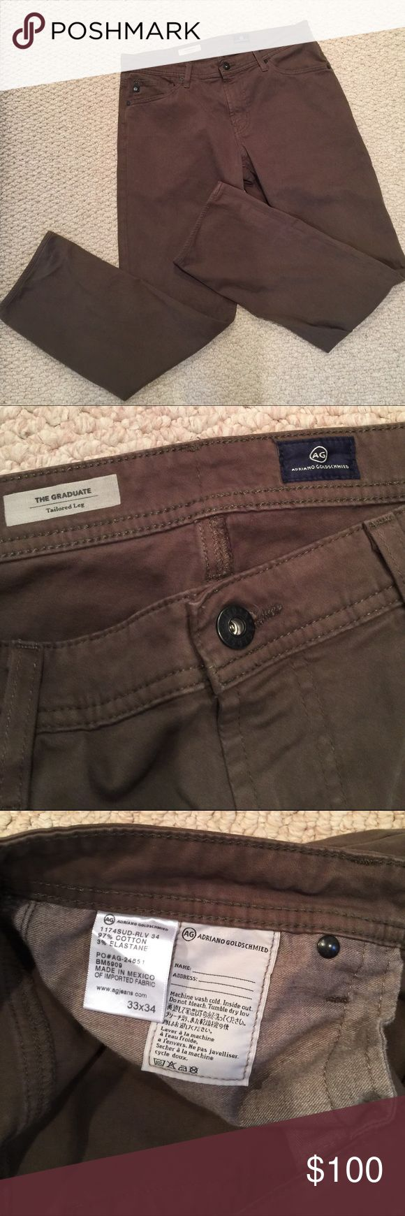 "AG Adriano Goldschmied "" the graduate"" jeans Olive green color barely worn AG  Adriano Goldschmied jeans. Great condition AG Adriano Goldschmied Jeans"