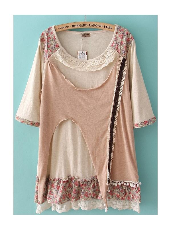 gray short sleeve pullover round neck chiffon T-shirt -