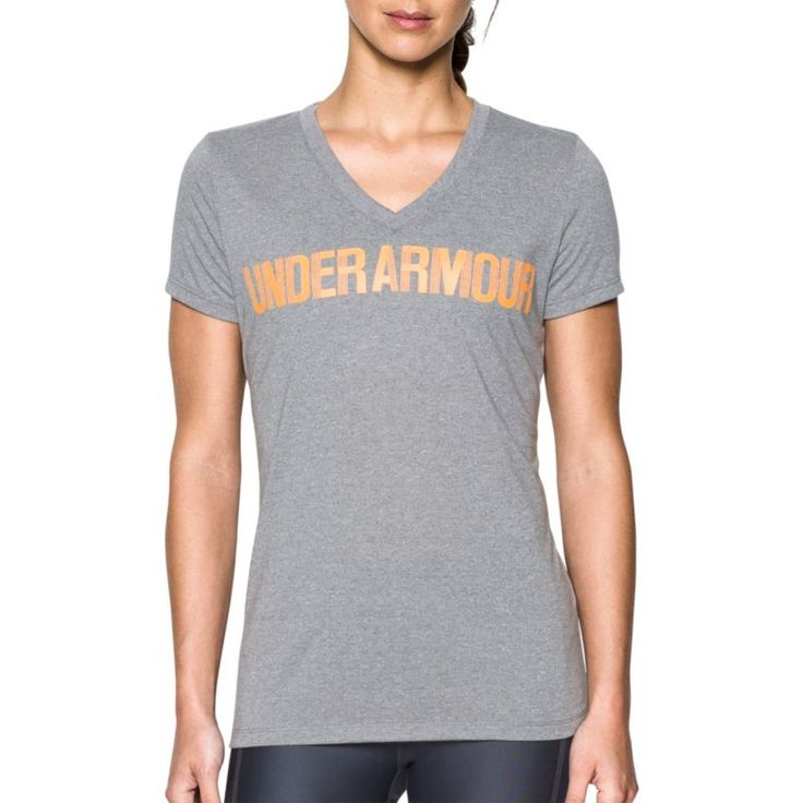 Under Armour Women's Threadborne Twist Print Graphic V-Neck T-Shirt, Size: Small, Gray