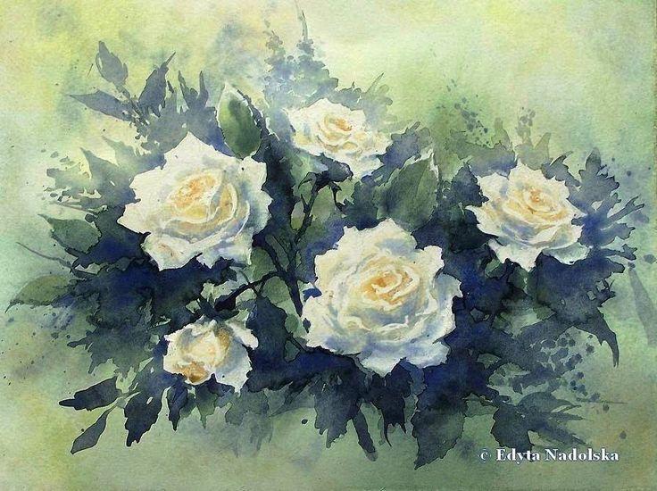 Edyta Nadolska Watercolor Art - 'White roses'