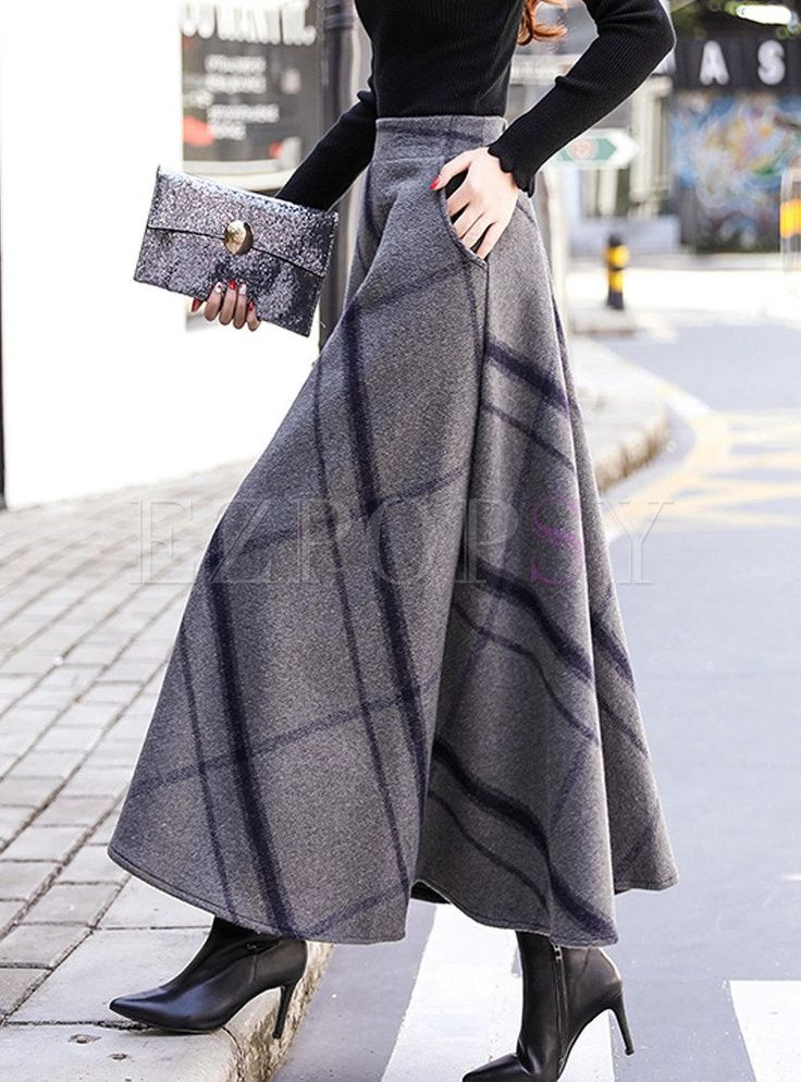 Vintage Color-blocked Plaid Thick Woolen Skirt