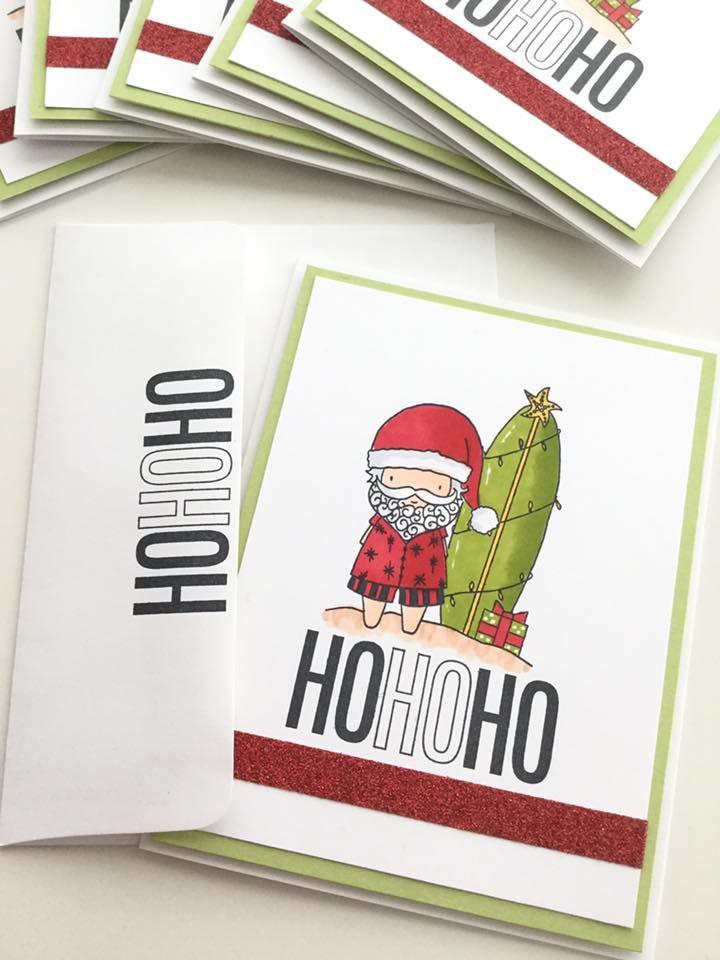CTMH Surfin Santa, Perfect Presents (HoHoHo tag), Red Shimmer Trim