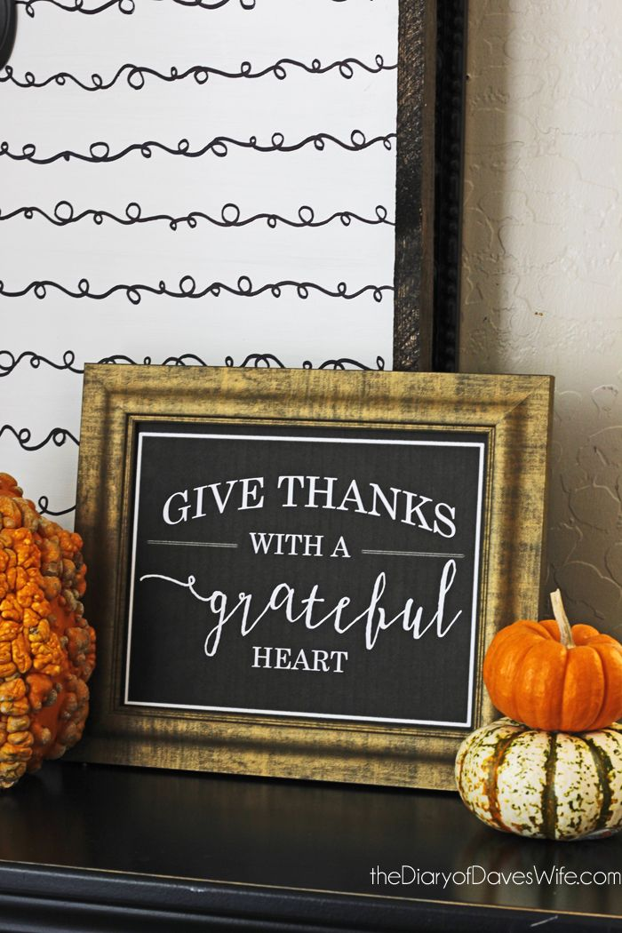 Give Thanks With A Grateful Heart   Free Print