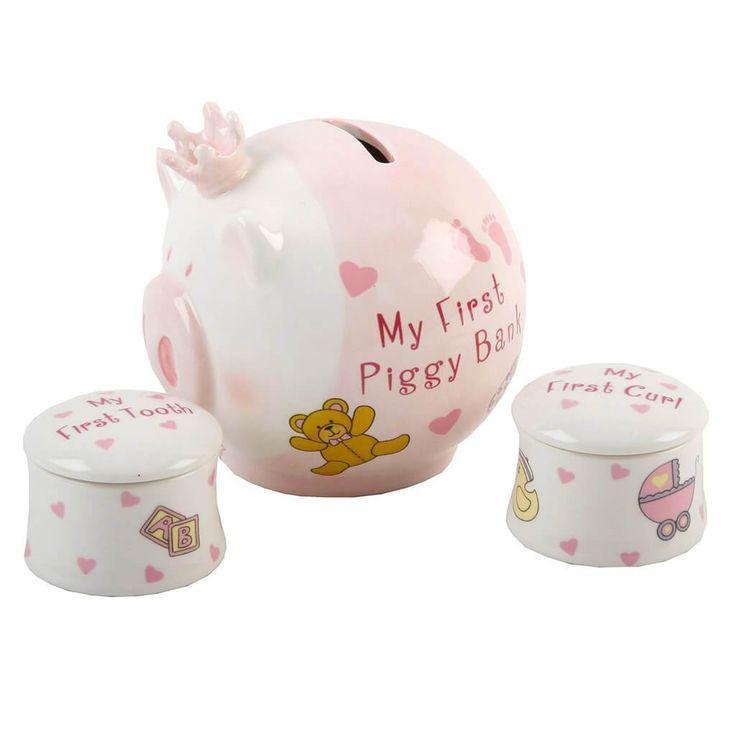 Malacpersely és első fog- és hajtincs tartó, rózsaszín ~ Ez a rózsaszín kerámia malacpersely és első fog- és hajtincs tartó szett egyedi ajándék kislányoknak.