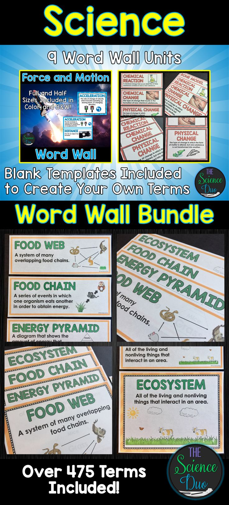 This Science Word Wall Bundle will allow you to display essential terms from your units of study in a visually appealing way. Post these words on the board or wall when learning new content or reviewing important standards. Word walls are a great way to help your students retain vocabulary throughout the year.