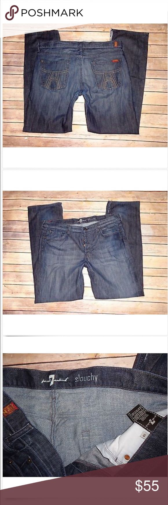 Men's 7 For All Mankind SLOUCHY Jeans! 38 x 33.5 Men's 7 For All Mankind Low Button Fly SLOUCHY Loose Jeans! 38 x 33.5 Long! Great Used!! Jeans are split at bottom hems..see pic 97% cotton & 3% spandex 19.5 across & 10 rise 7 For All Mankind Jeans Slim Straight