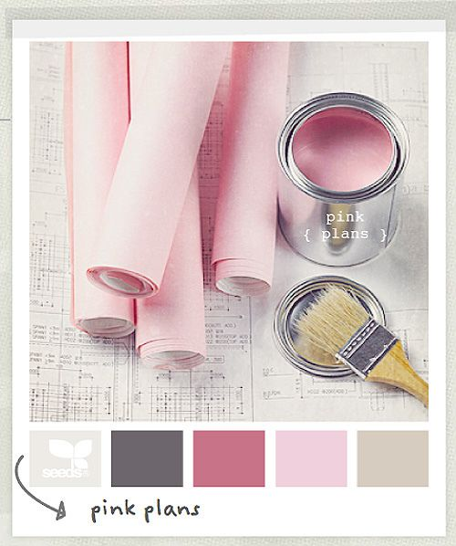 Love the grey and khaki colors. They make the pink more grown-up! Perfect for a little girls room or an elegent adult office