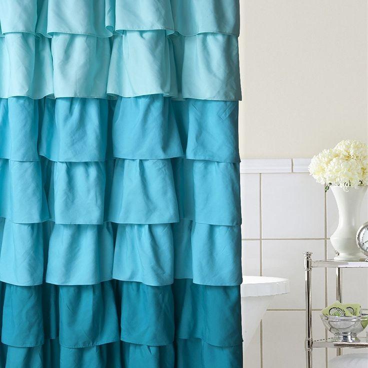 Home Classics® Ruffle Ombre Fabric Shower Curtain, Blue
