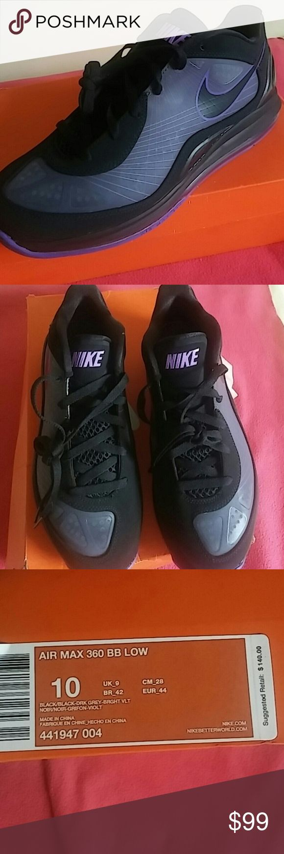Brand New Air Max 360 Bright Vlt Dark Grey Brand New in original box used as a floor display in Nike store...Colors care violet, grey, black..beautiful combo. Nike Shoes Sneakers