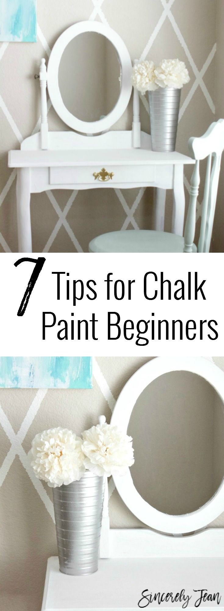 Tips for Chalk Paint Beginners - Vanity makeover | www.SincerelyJean.com