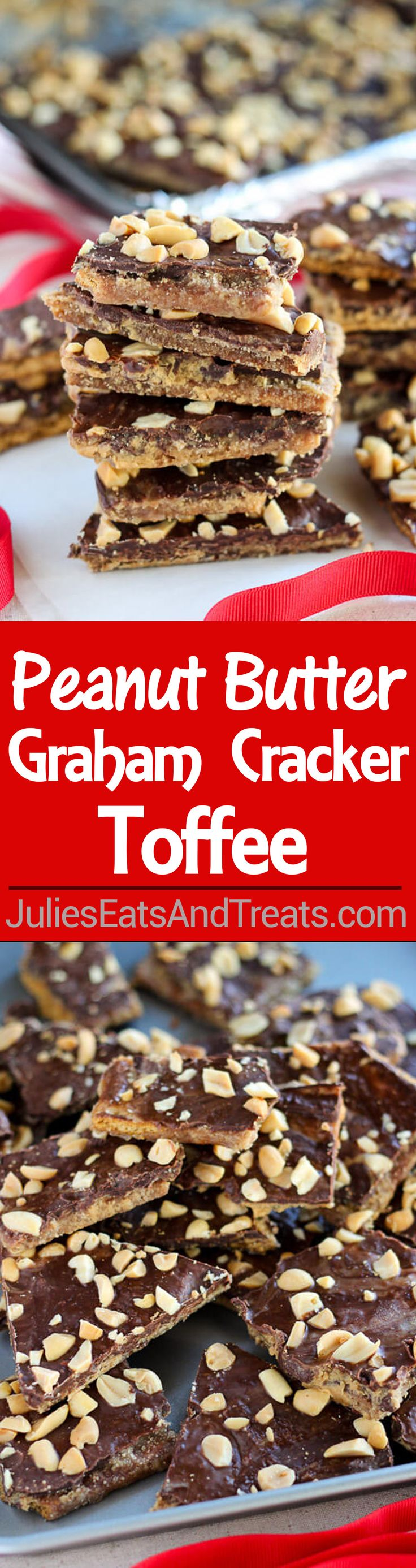 Peanut  Butter Graham Cracker Toffee Recipe – Peanut butter and chocolate combine in this easy graham cracker toffee. Sweet and salty with crunchy buttery layers. No candy thermometer needed!