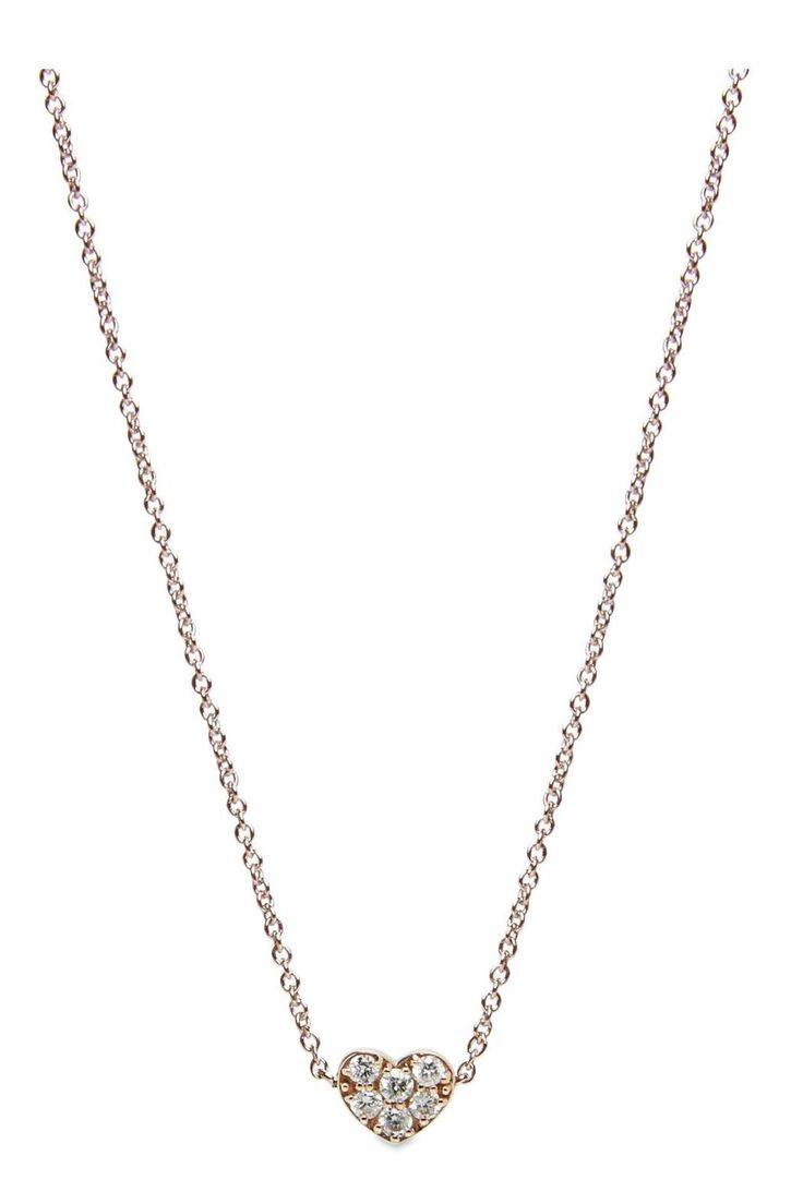 Sweet and dainty heart necklace perfect for any occasion!  -  Available in 14k Yellow Rose or White Gold  - 2mm. Visit www.elizapage.com for more information Diamond Heart Necklace by Eliza Page. Accessories - Jewelry - Necklaces - Delicate Austin Texas