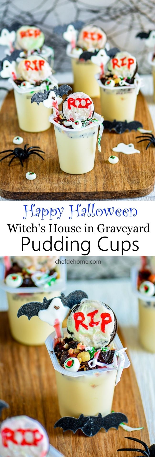 Halloween Fun Snack for Kids with Snack Pack Pudding Cups Witch Graveyards Very easy to assemble | chefdehome.com