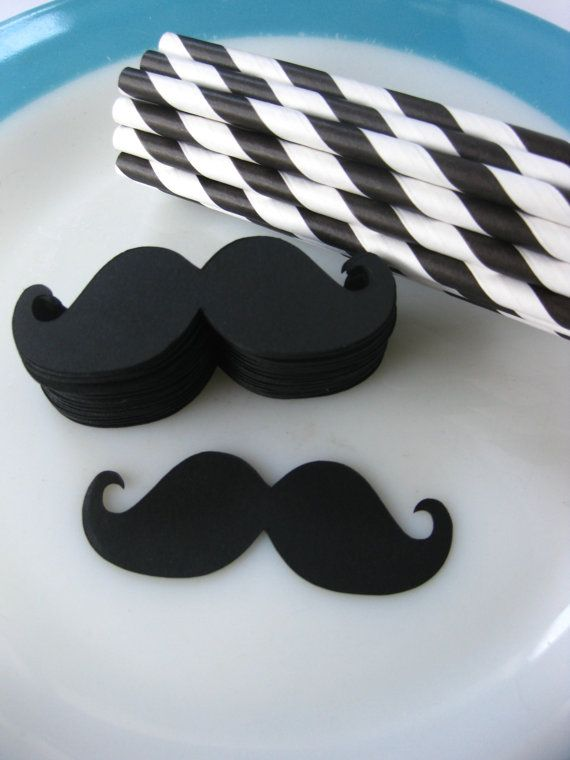 DIY Imperial Mustache Straw Kit 50 Paper Straws by RetroRoxVintage, $13.00