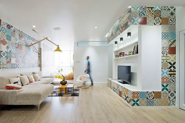 HT Apartment by Landmak Architecture in Vietnam. Beautiful tiling, it makes the room come alive.