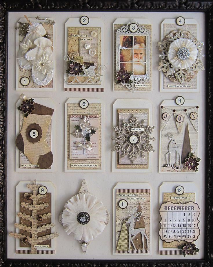 12 tags of Christmas: Tags Inspiration, Ideas, 12 Tags, Art Tags, Christmas Tags, Gifts Tags, Tags Art, Scrapbook, Christmas Advent Calendars