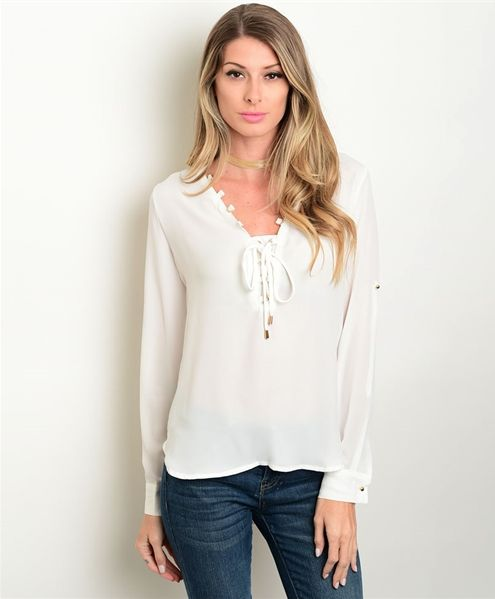 Oh So Boutique | Sienna White Detail Blouse