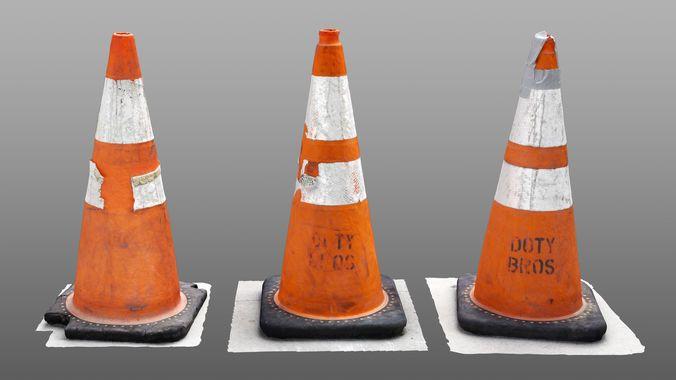 3 photorealistic construction cones - 8k texture maps 3d model max obj mtl 1