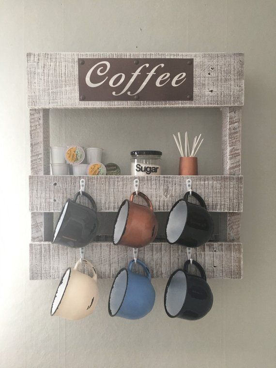 Coffee Bar Coffee Wall Rack Wood Pallet Coffee Cup Holder Etsy Wood Pallet Bar Coffee Cup Holder Coffee Cups Diy