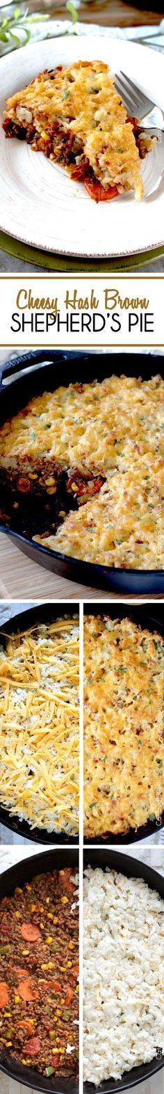 Cheesy Hashbrown Shepherd's Pie ~ cheesy,crispy hash browns give way to beef, carrots, corn and green peppers smothered in a tomato spiked brown gravy | carlsbadcravings.com