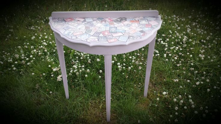Upcycled hall table, with stamp decopage top Www.facebook.com / beetreecrafts