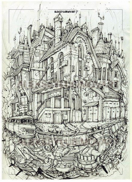 The flying house.  #алексейлюбимовбиомеханика #алексейлюбимов #стимпанк #дизельпанк #биомеханика #marchofrobots #steampunk #dieselpunk #alekseylubimov #biomechanical #marchofrobots2017