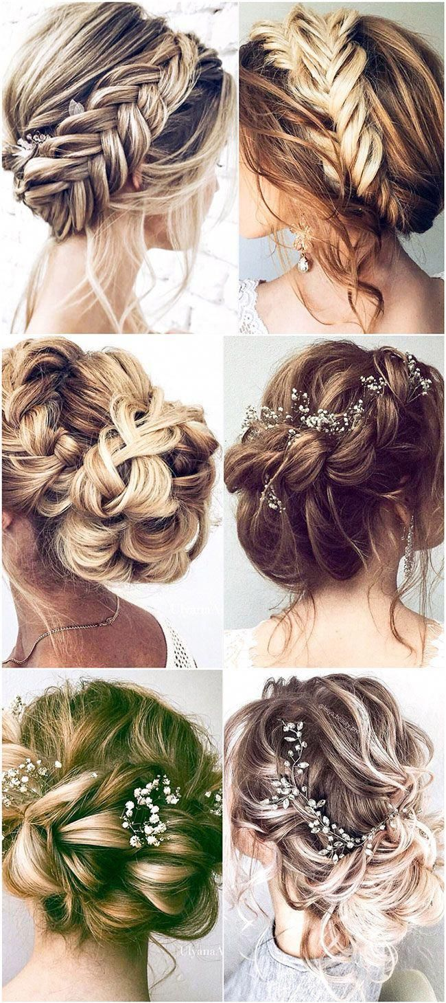 Elegant crown braids with beautiful hair pins low updos wedding