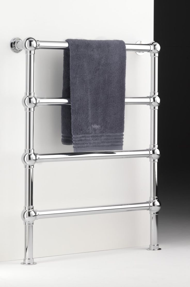 Heated towel rail Blakedown design. Constructed in chunky 38mm tube, floor mounted. Joints can be straight or ball. Several finishes and sizes available and can be made bespoke. Low energy electric towel rail. http://www.priorsrec.co.uk/heated-towel-rail-blakedown-floor-mounted/p-41-1104-522