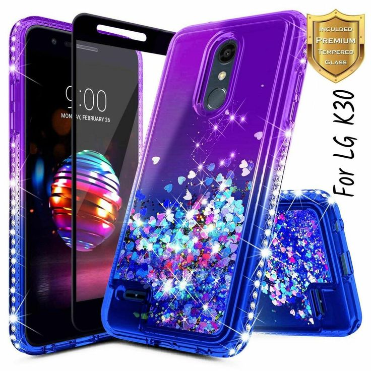 For lg k30 case tempered glass screen protector glitter
