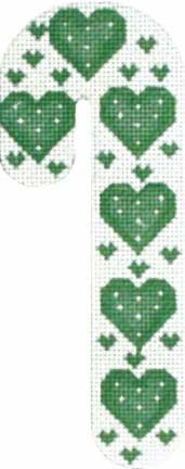 Melissa Shirley Designs | Hand Painted Needlepoint | Hearts Candy Cane