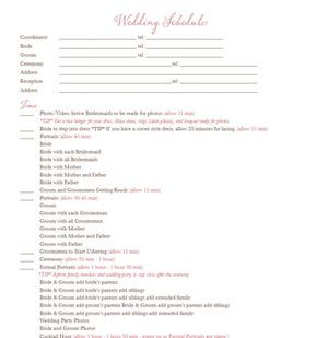 Hundreds of Free Wedding Templates: Wedding Day Timeline Template from Wedding Chicks