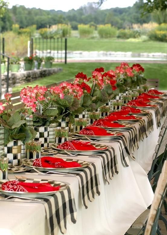Garden party ~ Mackenzie Childs. She used tin cans and covered them for the flowers. Big check black and white gingham table runners going across the table and big red bandanas for napkins.