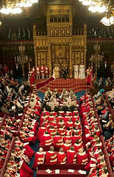 Opening of parliament - the Queen's speech in front of the peers of the realm and the members of the House of Commons