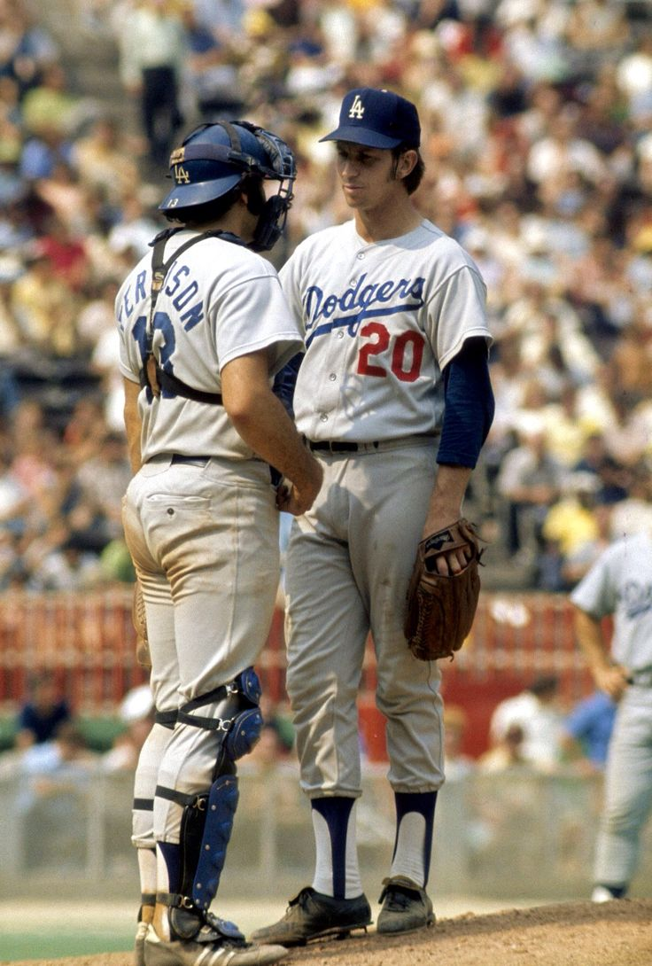 Don Sutton (seen with catcher Joe Ferguson) was Dodgers pitcher for 16 years. He holds the ball club record for most wins (233), most strikeouts (2,696), and most games started (533).