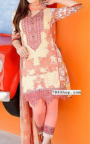 Ivory/Peach Swiss Lawn Suit | Buy Sanam Saeed Pakistani Dresses and Clothing online in USA, UK