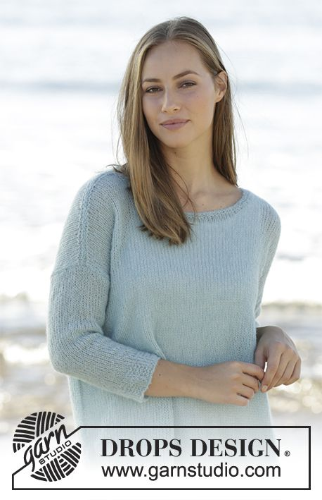Knitted jumper with ¾ sleeves in DROPS Brushed Alpaca Silk. Size: S - XXXL Free pattern by DROPS Design.