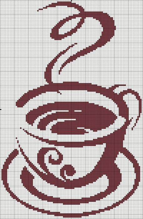 coffee illustration charted, cross stitch, needlepoint, tapestry crochet