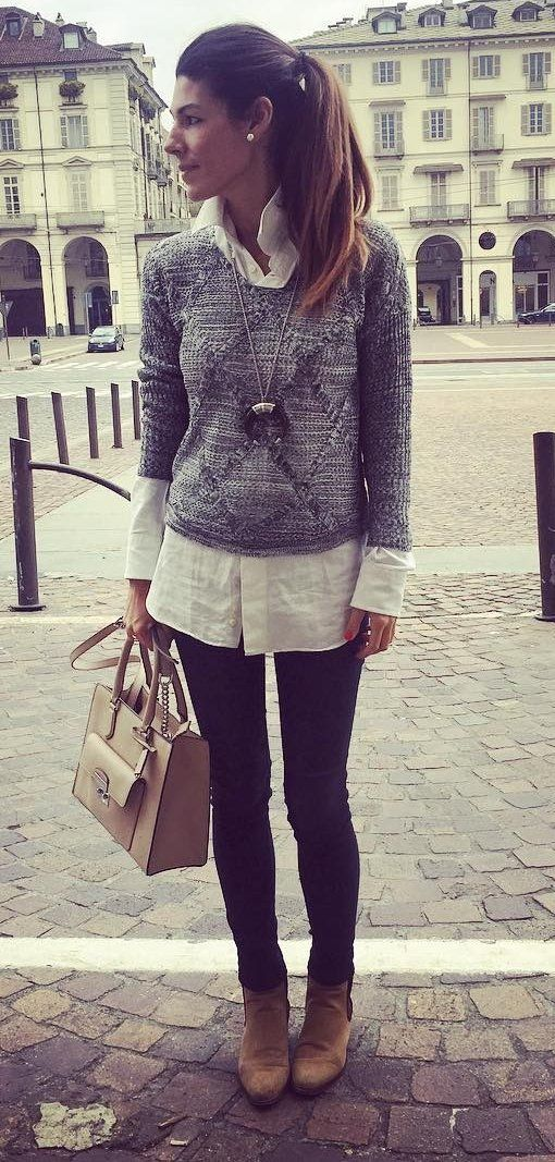 fantastic sueter gris mujer outfit 12