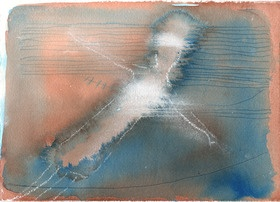 "Original small abstract mixed media painting in blue and tan titled 'Falling, Water'. Features blue and tan ink washes and ink-drawn lines overlaid with soft white pastel. The edges are hand-torn (see 2nd image of full picture). A moody piece inspired by a dream of falling into water, arms outstretched in surrender.  - Paper size 25cm x 18cm approx (9.8"" x 7.5"") - 300gsm weight archival cold pressed Canson Aquarelle Arches cotton rag textured paper - Titled, signed and dated on reverse"