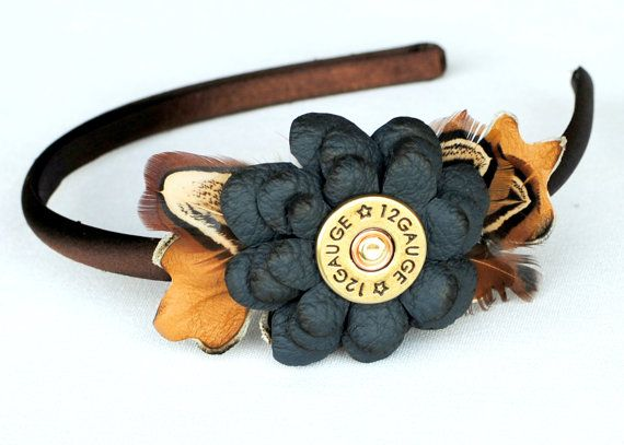 Blue Leather Flowers Headband with Shotgun Shell, with Gamebird Feathers on Etsy, $20.00