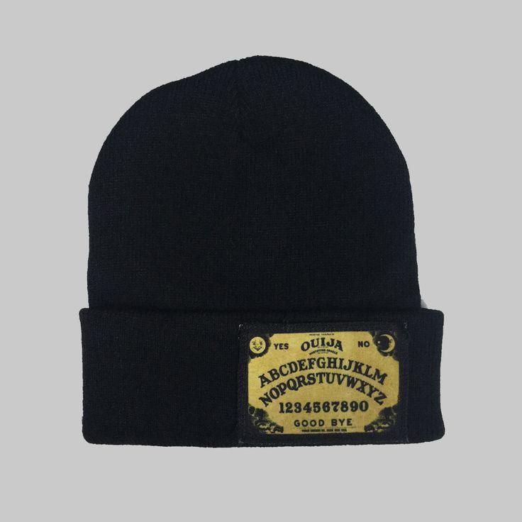 Horror Ouija Winter Beanie Headwear Hipster Indie Swag Dope Hype Black Hat Beanie Mens Womens Cute Slouchy Hat Halloween by IIMVCLOTHING on Etsy