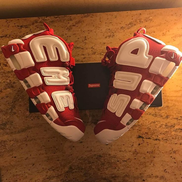 Initial Look At The Supreme x Nike Air More Uptempo Red White