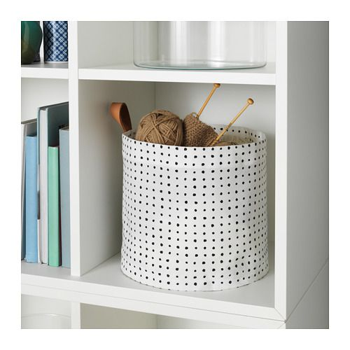 PLUMSA Storage basket, white, black